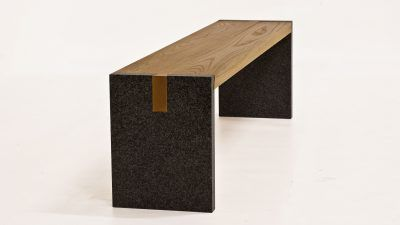 tuinbank-hout met steen (2)