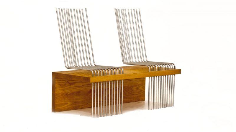 designbank van hout en staal